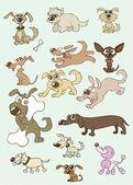 Vector illustrations of funny cartoon dogs — Stock Vector