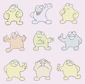 Personaggio del cartone animato divertente in nove illustrazioni vettoriali — Vettoriale Stock