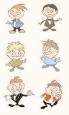 Nove ilustrações de um personagem de desenho de vetor — Vetor de Stock