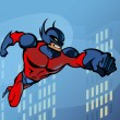 Superhero flying through the city - Imagens vectoriais em stock