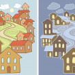 Stock Vector: Stylized vector illustrations of town landscape with lots of houses in two variants - day and night
