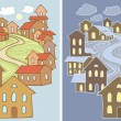 Stylized vector illustrations of town landscape with lots of houses in two variants - day and night - Stock Vector