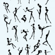 Collection of different figures in black silhouette - Imagen vectorial