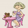 Little girl is playing with her toy bear, acting as if she was drinking tea with it - Stock Vector