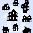 Stock Vector: Illustration of house silhouettes in black