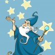Illustration of a cartoon wizard with a magic stick in his hands - Stock Vector