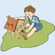 Little boy is playing with a toy house on a grass — Stock Vector #18590619