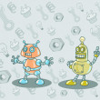 Illustration of four robots in a cartoon style on the background of different tools - Stock Vector