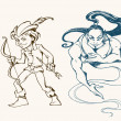 Sketchy illustration of different fantasy characters - Stock Vector