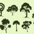Illustration of trees in fantasic style made in silhouette - Stock Vector