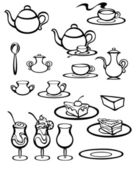 Illustration of tea set in black and white — Stock Vector