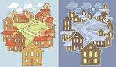 Stylized vector illustrations of town landscape with lots of houses in two variants - day and night — Stock Vector