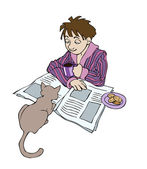 A young sleepy man in bathrobe is reading a morning newspaper, drinking coffee while his cat is staring at him — Stock Vector
