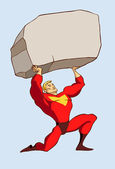 Superhero in a standing pose holding a huge rock above his head — Stock Vector
