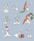 Vector illustration of funny cartoon rabbits — Stock Vector