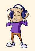 Illustratie van een persoon luisteren naar muziek op koptelefoon — Stockvector