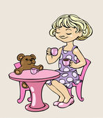 Little girl is playing with her toy bear, acting as if she was drinking tea with it — Stock Vector