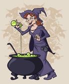 Cooking witch — Stock Vector