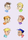 Six cartoon portraits of little boys — Stock Vector