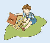 Little boy is playing with a toy house on a grass — Stock Vector