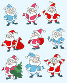 Set of vector christmas illustrations depicting Santa Clause in various figures — Stock Vector