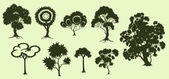 Illustration of trees in fantasic style made in silhouette — Stock Vector