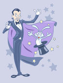 Illustration of a magician with a rabbit out of the hat — Stock Vector