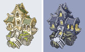 Illustratie van oude fantasie kasteel in de nachttijd en daglicht — Stockvector
