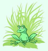 Kleine groene kikker op een blad — Stockvector