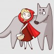Stock Vector: Red riding hood and wolf