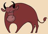 Angry cartoon bull — Stock Vector