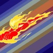 Fiery cartoony flying superhero - Imagen vectorial