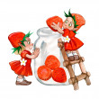 Strawberry sisters - Stock Photo
