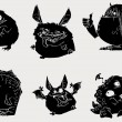 Six monsters — Imagen vectorial
