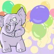 Birthday cartoon elephant — Stock Vector