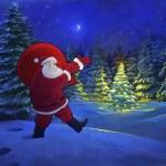 Santa in magic forest — Stock Photo