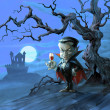 Count Dracula standing by the old crooked tree on the background of his castle — Stok fotoğraf