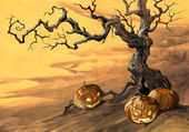 Background with halloween pumpkins and old crooked tree — Stock Photo