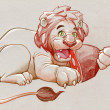 Stock Photo: Lion eating meat