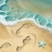 Sand footprints — Stock Photo