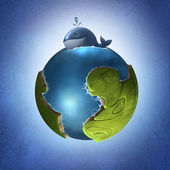 Whale and fantasy planet — Stock Photo