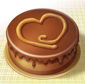 Serce symbol czekoladowe ciasto — Zdjęcie stockowe