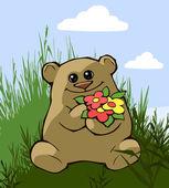 Teddy bear with flowers — Stock Vector