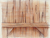 Pencil drawing of a wooden shelf — Stock Photo