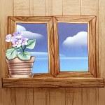 Window frame with flowers — Stock Photo #42362289