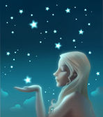 Charming young lady and stars — Stock Photo