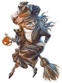 卡通万圣节女巫 — 图库照片