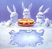 Kreslený králík narozeniny — Stock fotografie
