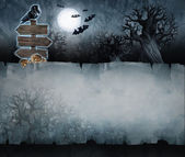 Halloween background with crooked trees and moon — Stock Photo