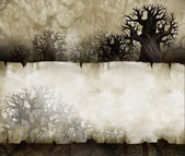 Old scroll on background with crooked trees — Stock Photo
